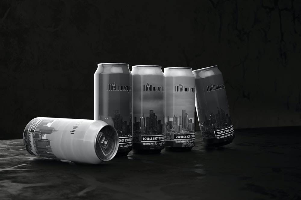 black and white labeled can
