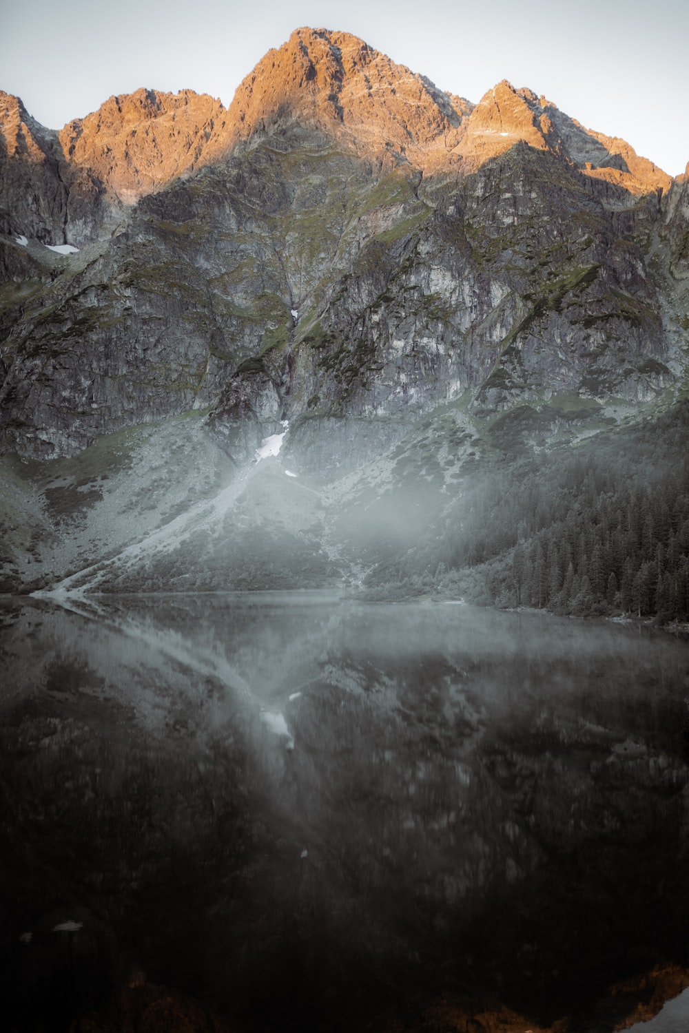 gray and white mountain painting