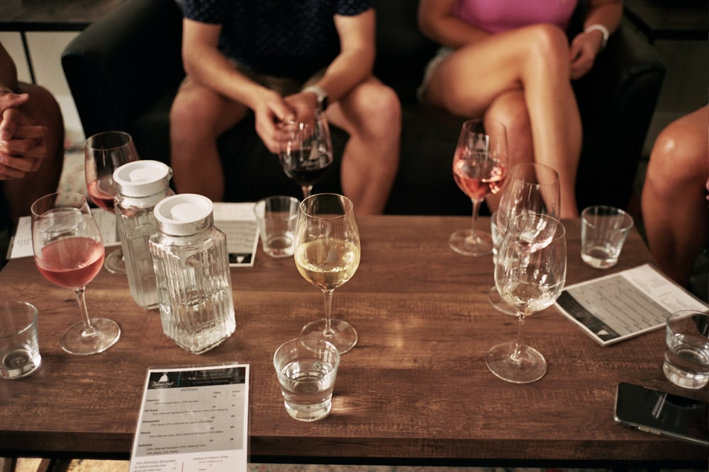 clear drinking glasses on table