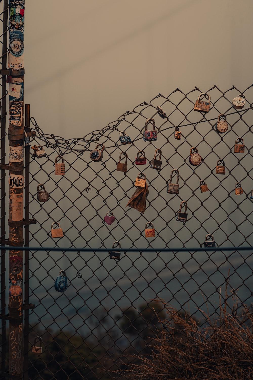 gray metal fence with padlock