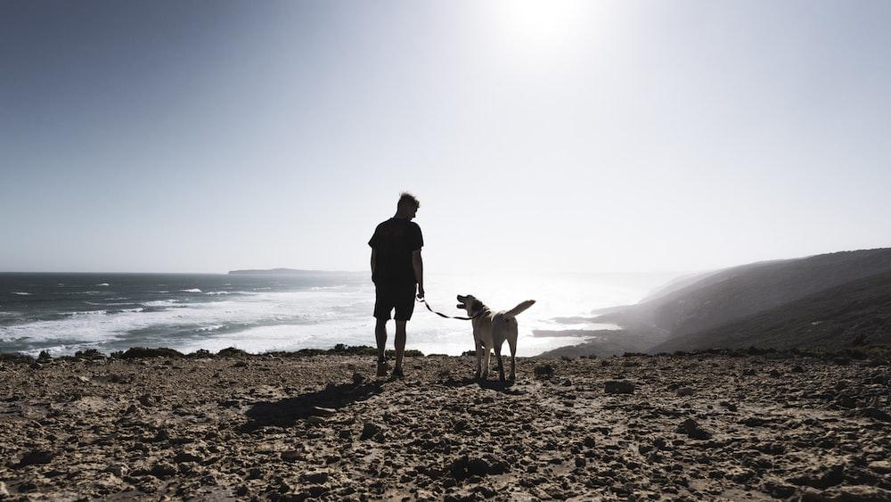 man in black jacket and brown pants standing beside brown short coated dog on seashore during