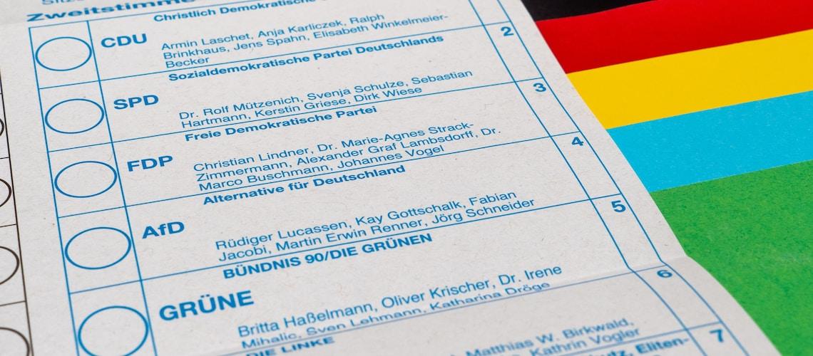 Bundestagswahl 2021, political parties in Germany: Zweitwahl.
