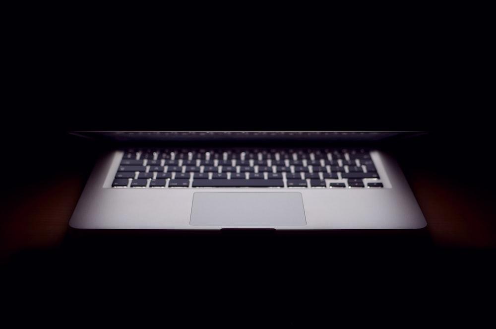 slightly opened MacBook Air
