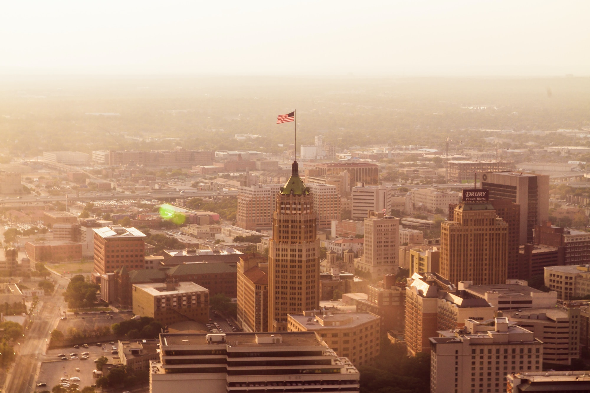 The San Antonio cityscape with the Tower Life Building and the Drury Plaza Hotel.