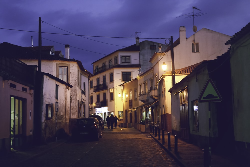 people walking down on alley during nighttime