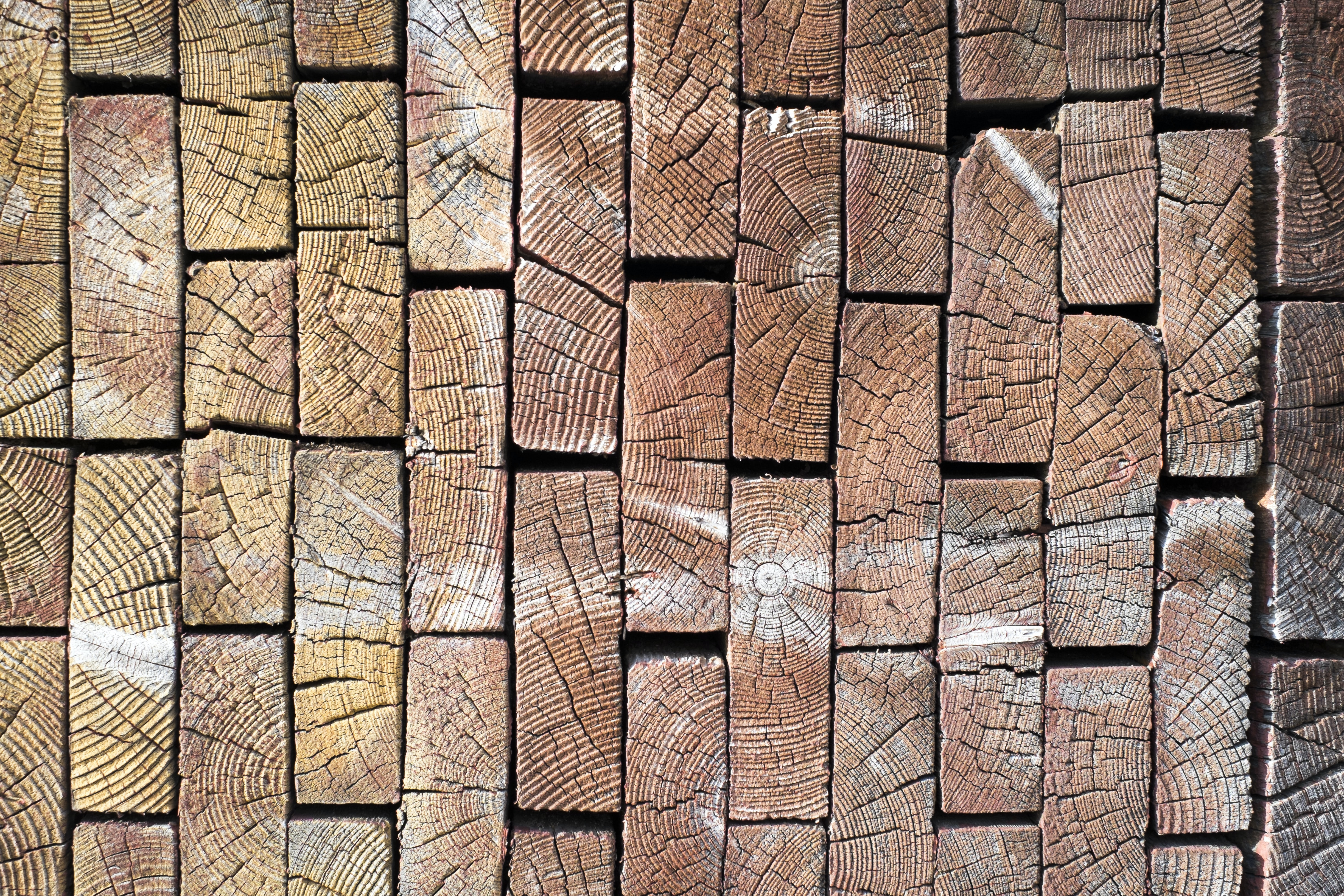 wood shaped as blocks with textured pattern on them