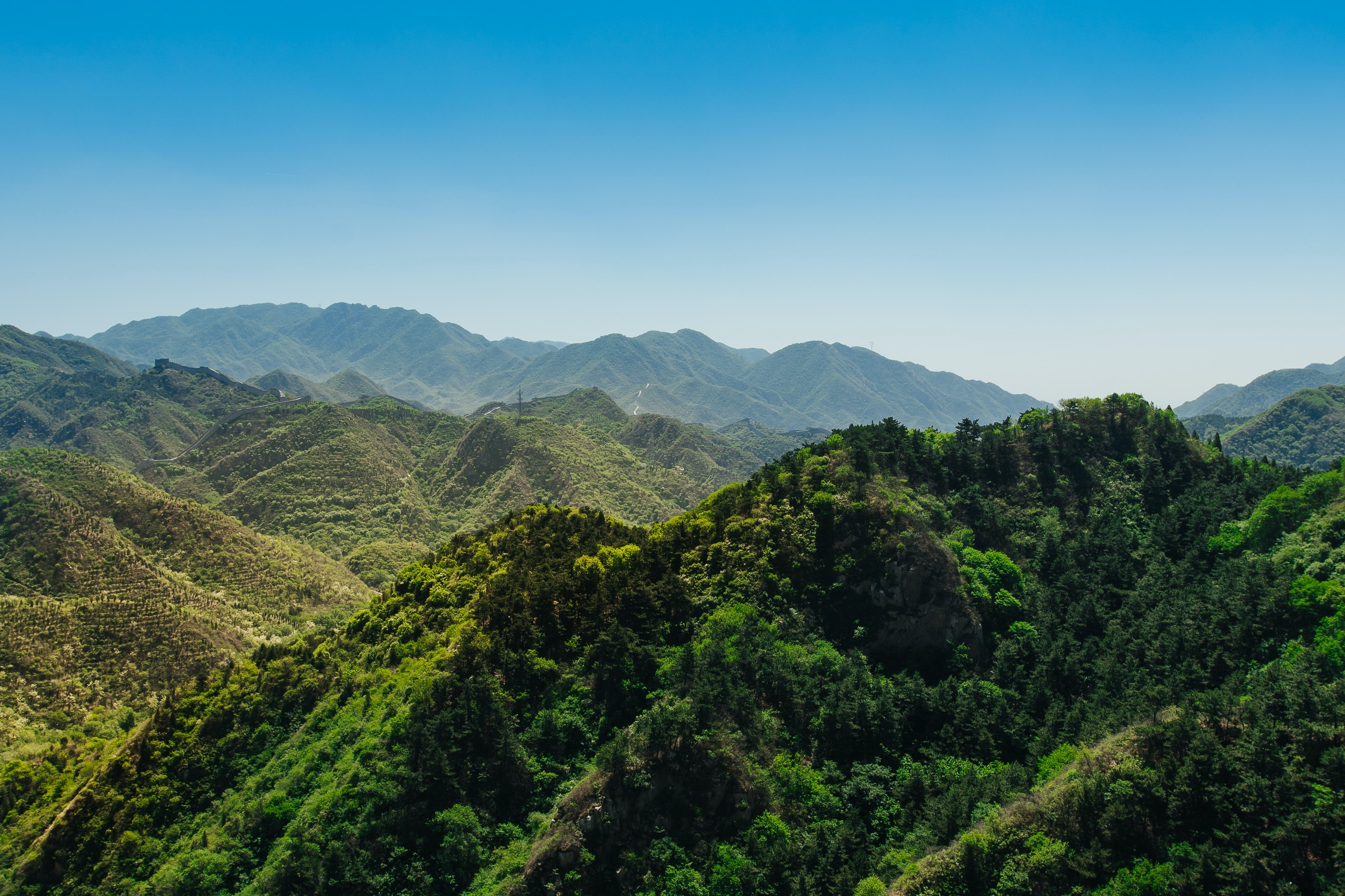 A mountainous rainforest landscape under a clear blue sky