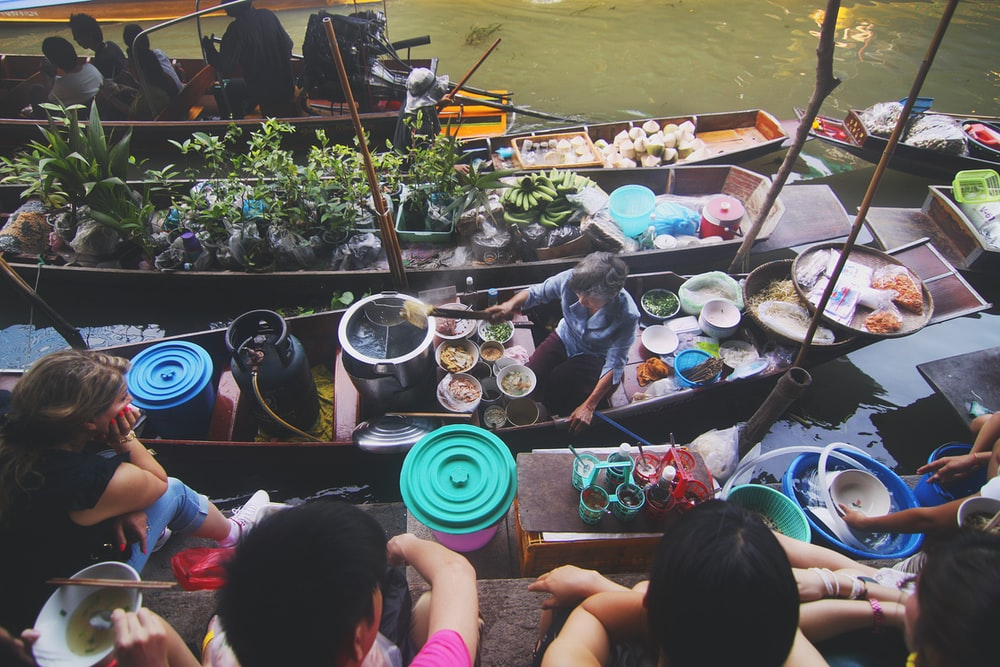 flat lay photography of floating market