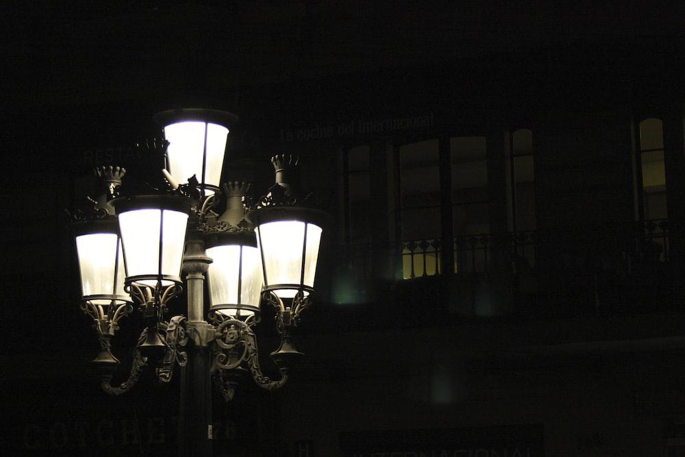 gray street light post
