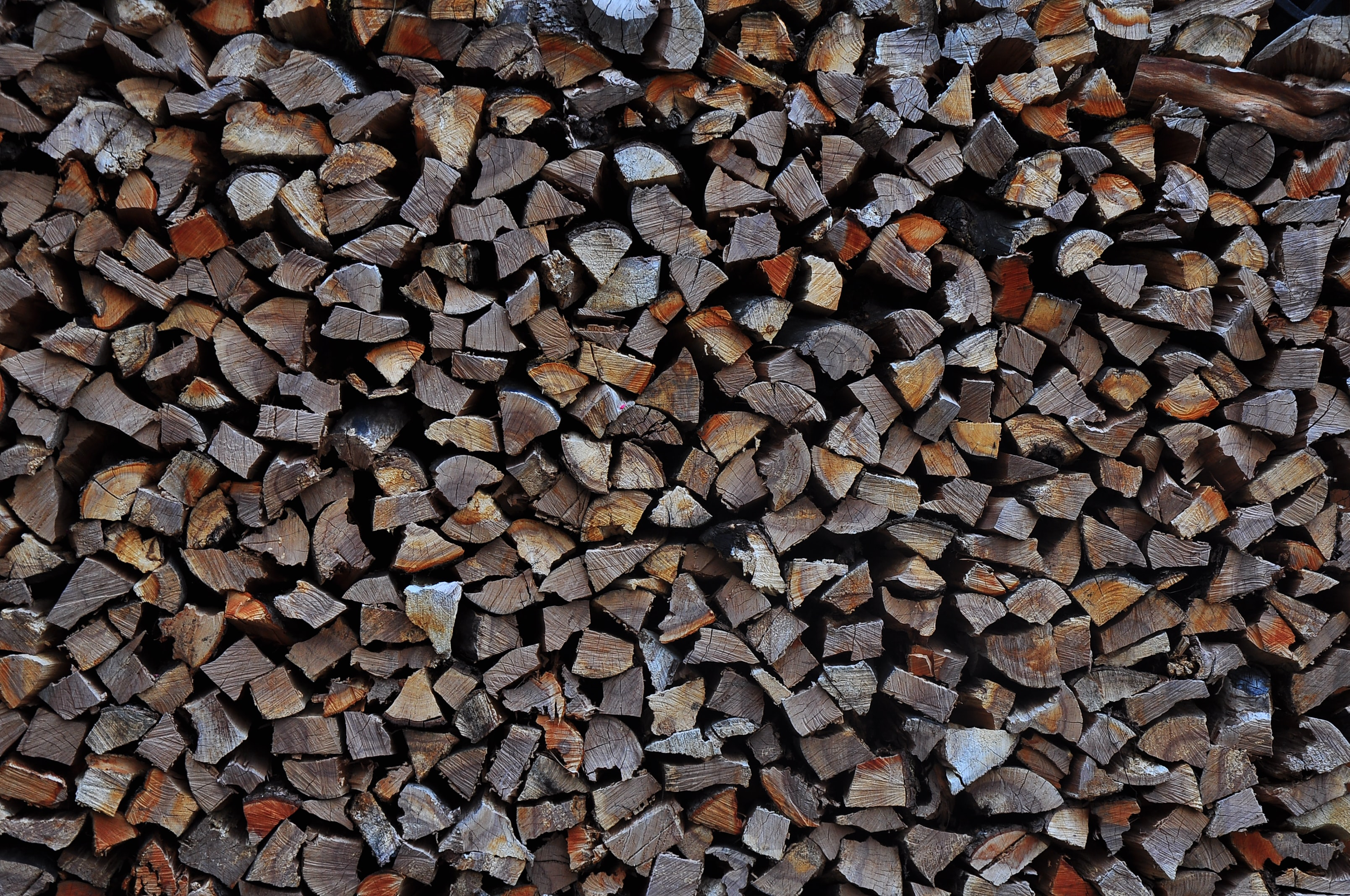 A pile of chopped wood in various shades of brown and gray