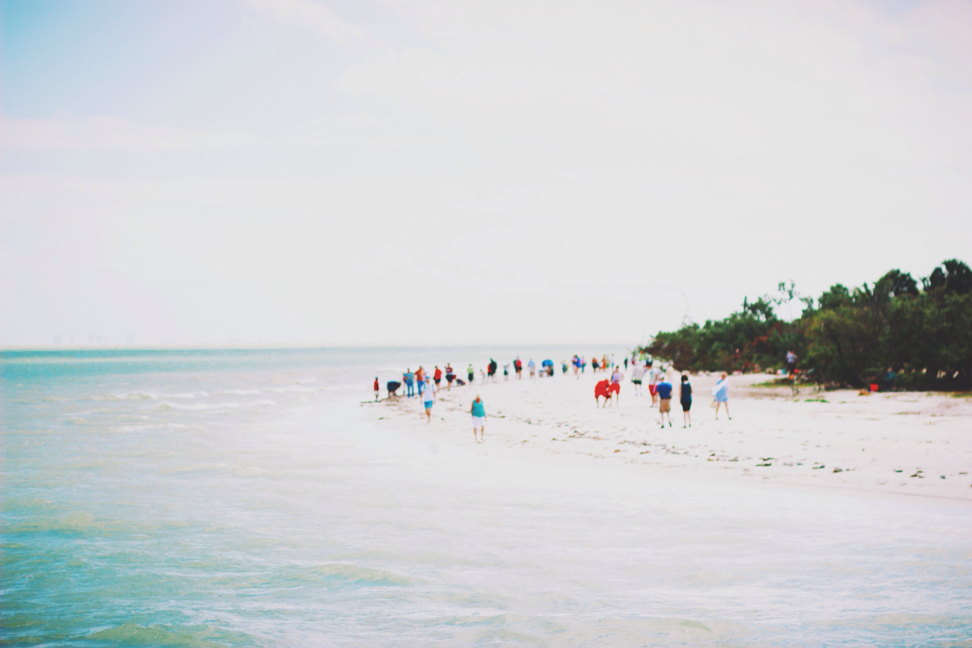 People dressed in an array of bright colors stand along the blue sea shore.