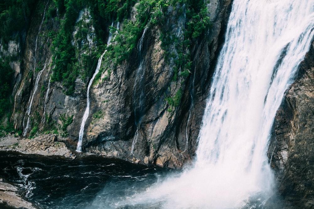 waterfall on rock mountain