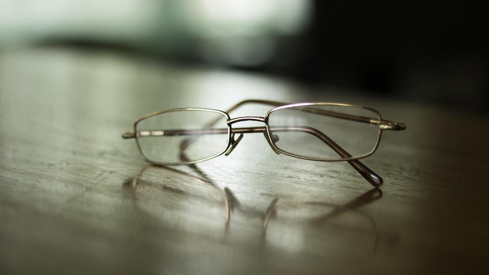 eyeglasses on table