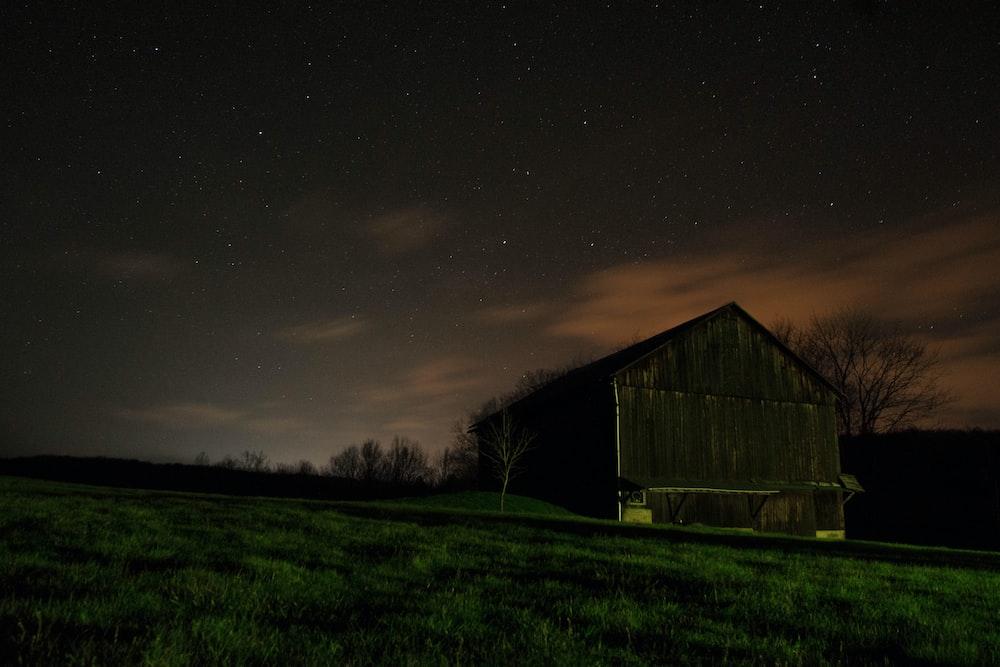 landscape photo of house near the field