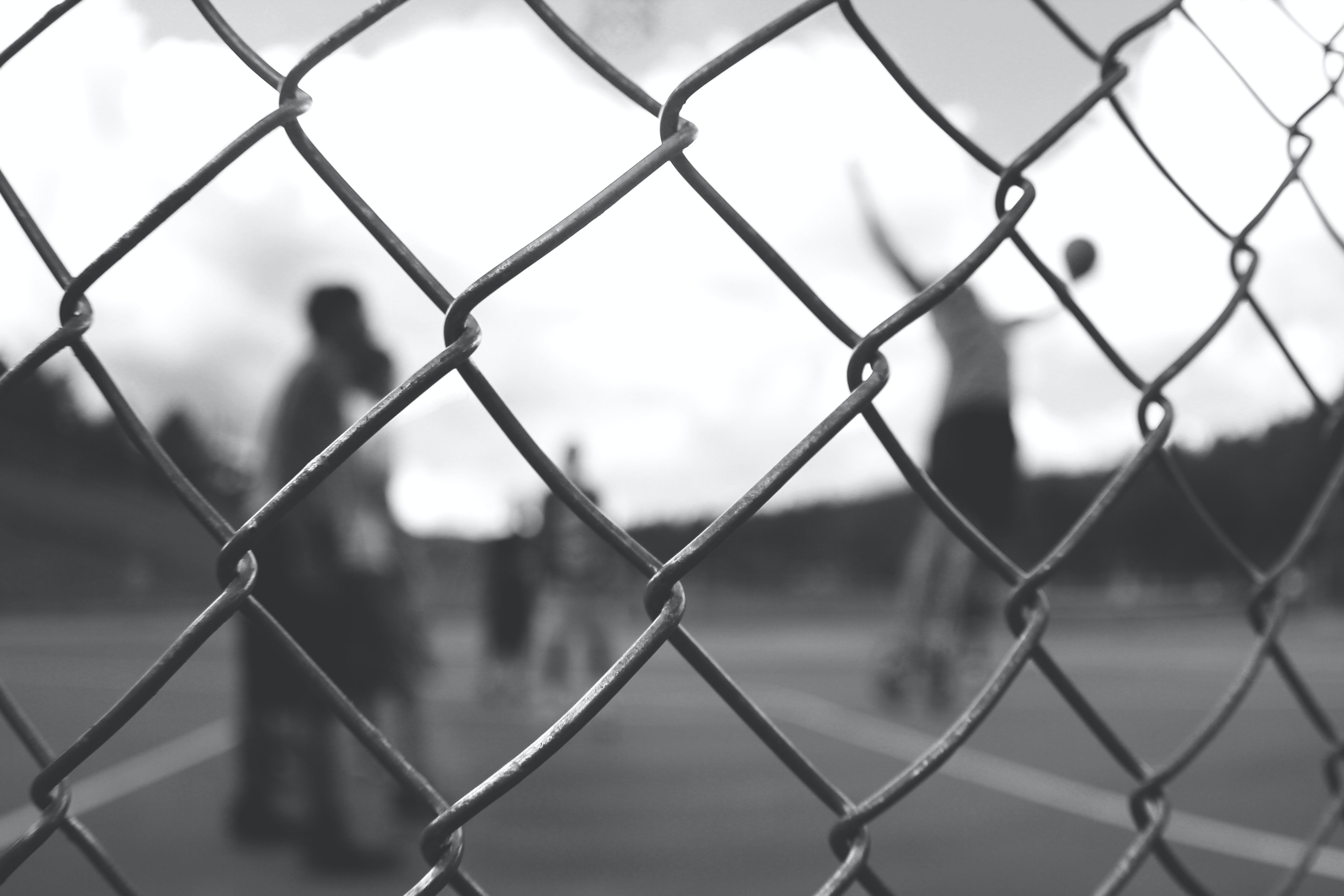 grayscale photo of cyclone fence
