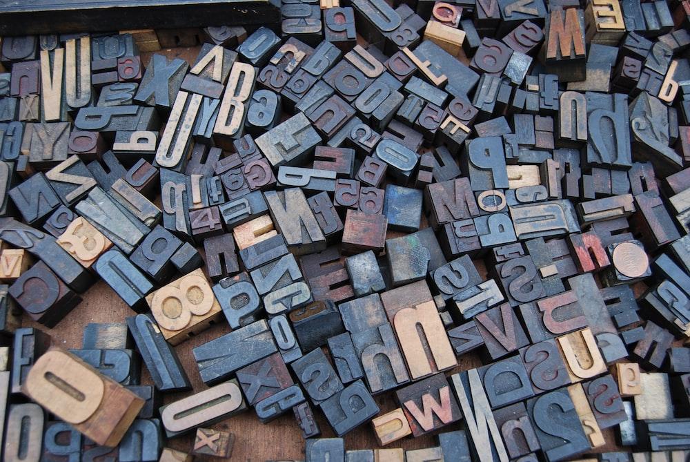 letter wood stamp lot