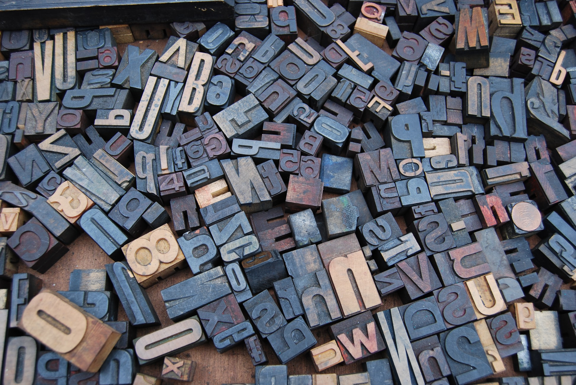 typography stamps from a printing press