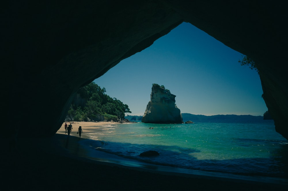 View from a cave on the beach and ocean