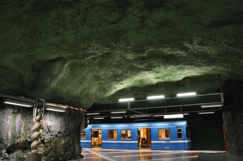 open door of blue train