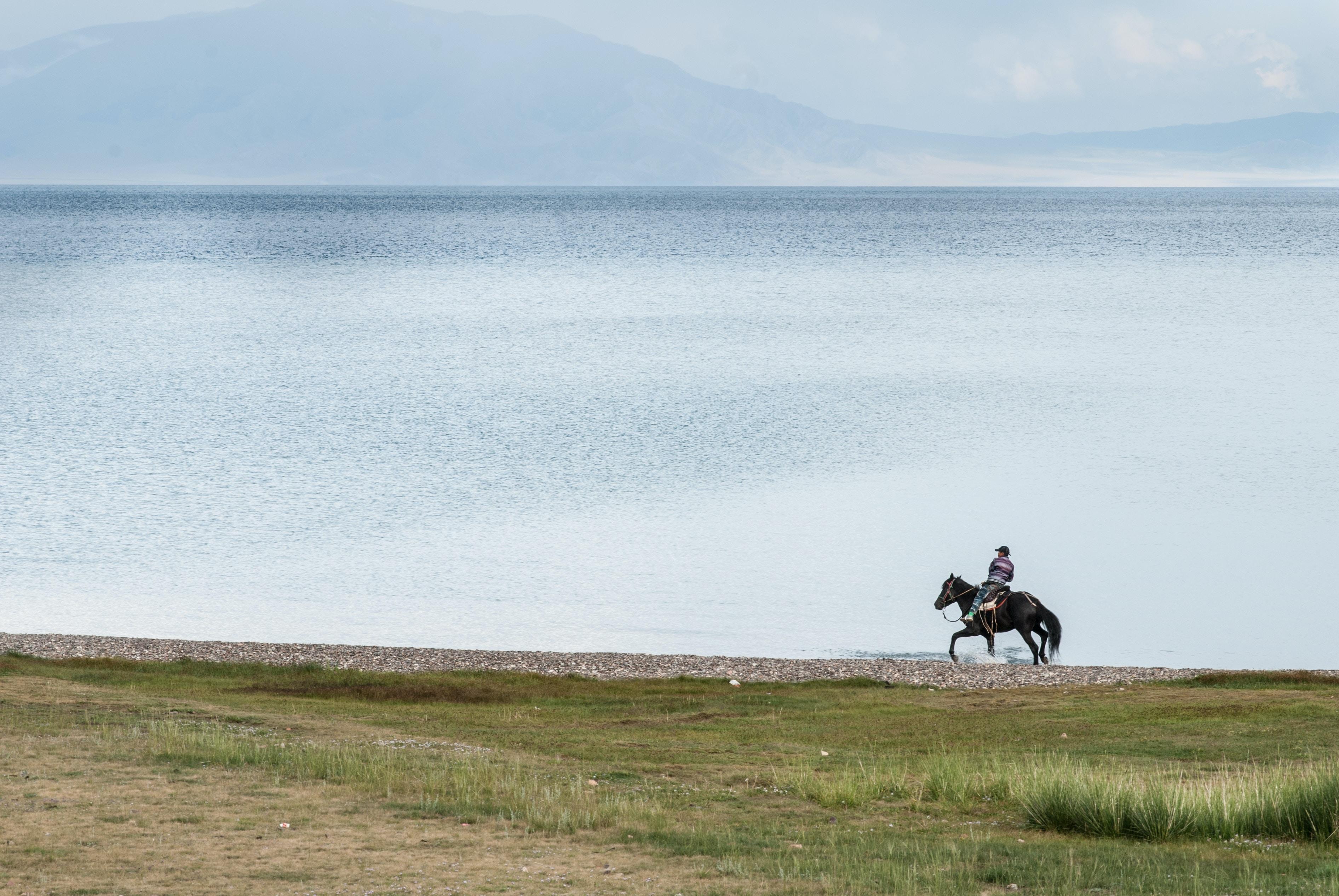 A man riding a horse through water along the shore of a vast lake