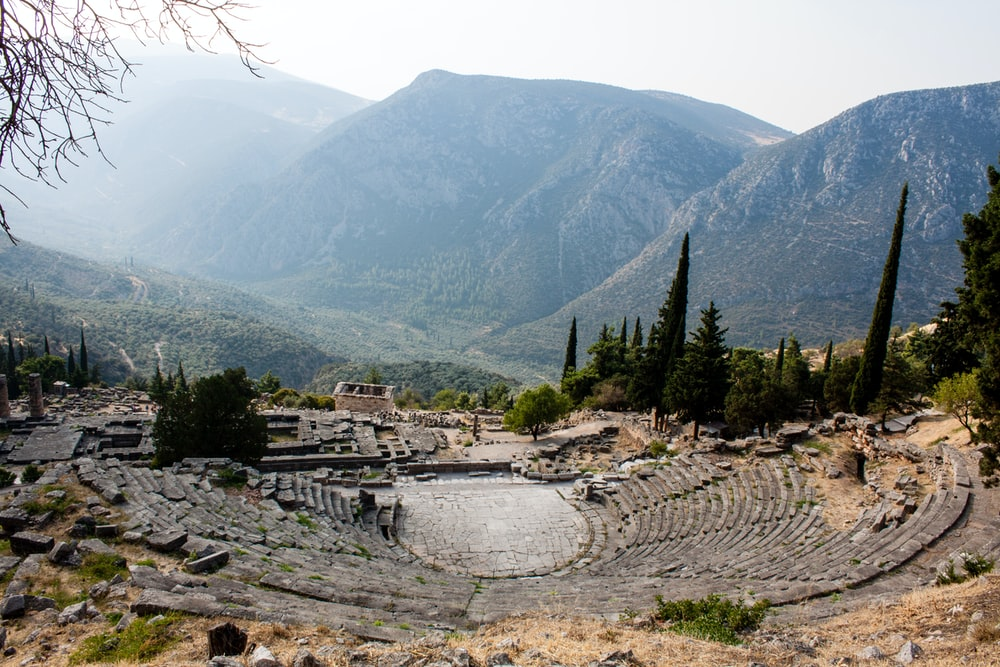 Delphi, greece, ancient theatre and mountains | HD photo by Jean
