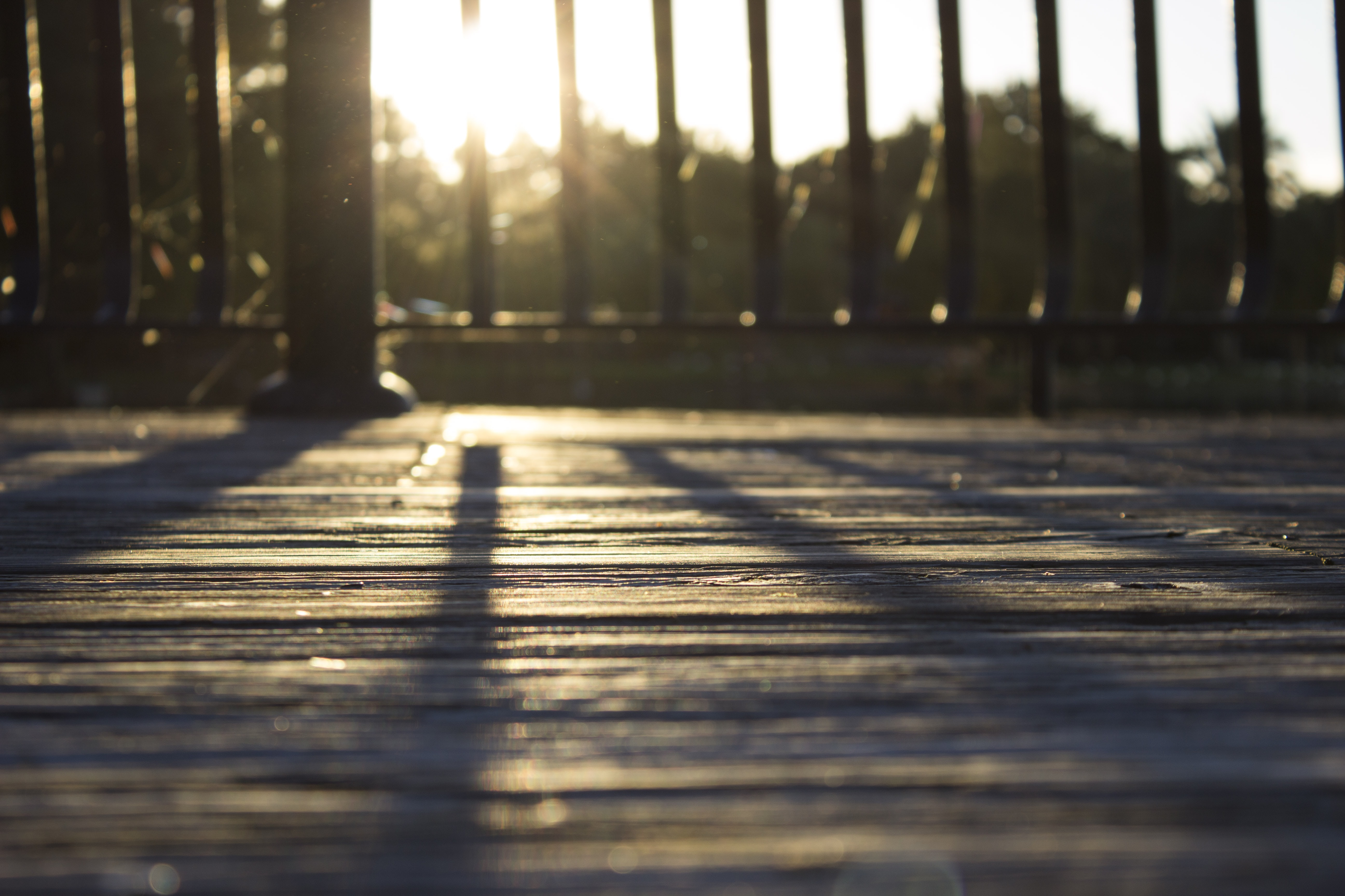 Sunlight creating shadows through a wooden fence on a deck.