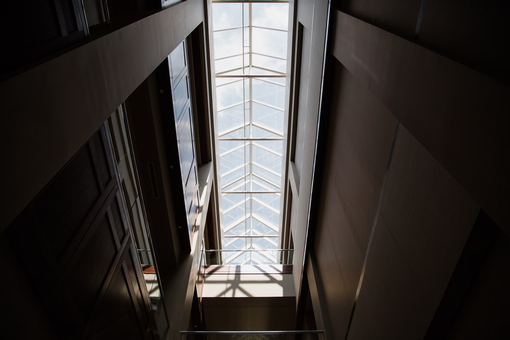 low angle photography of inside building