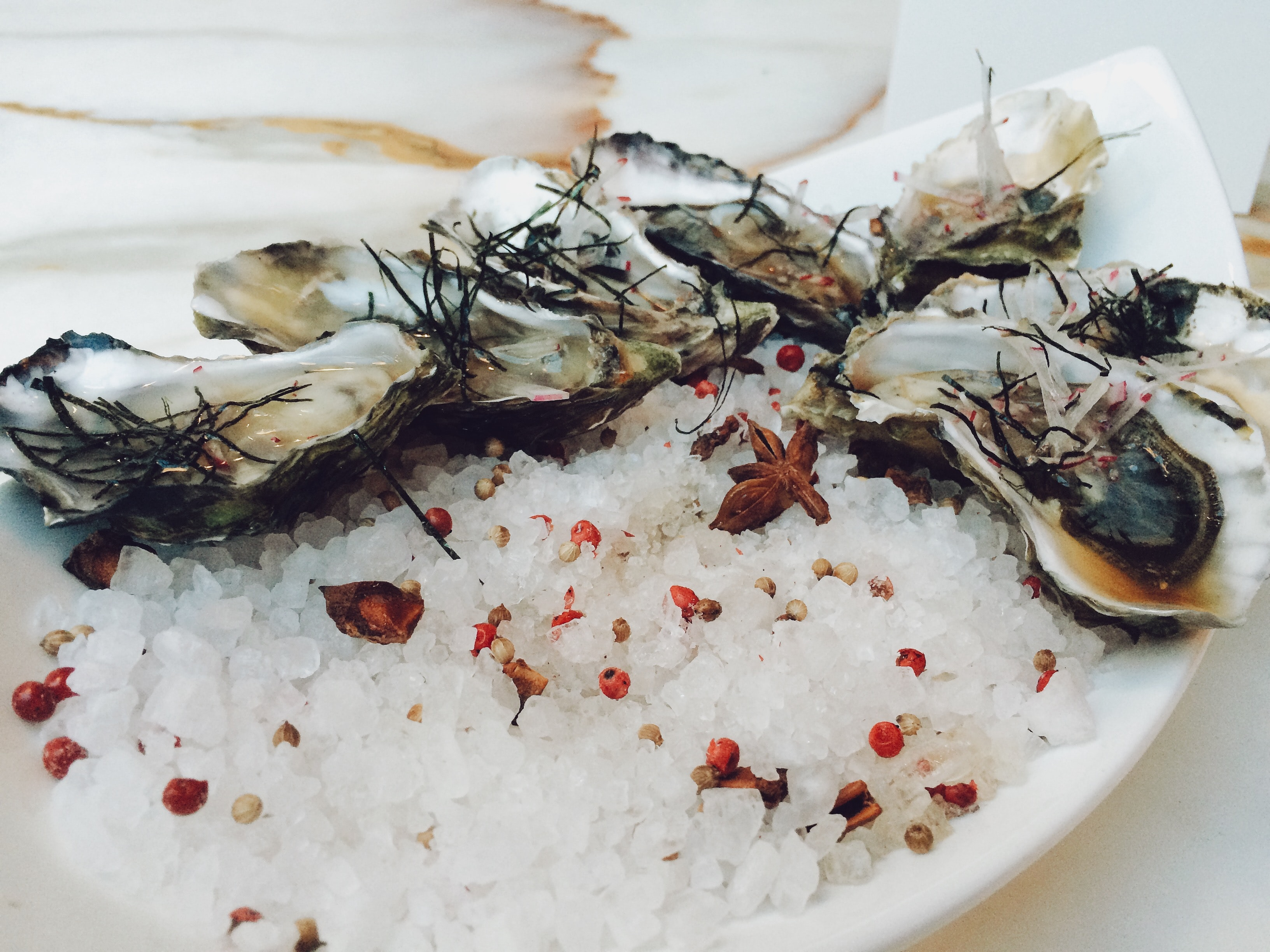 Plate of oysters and seafood over ice