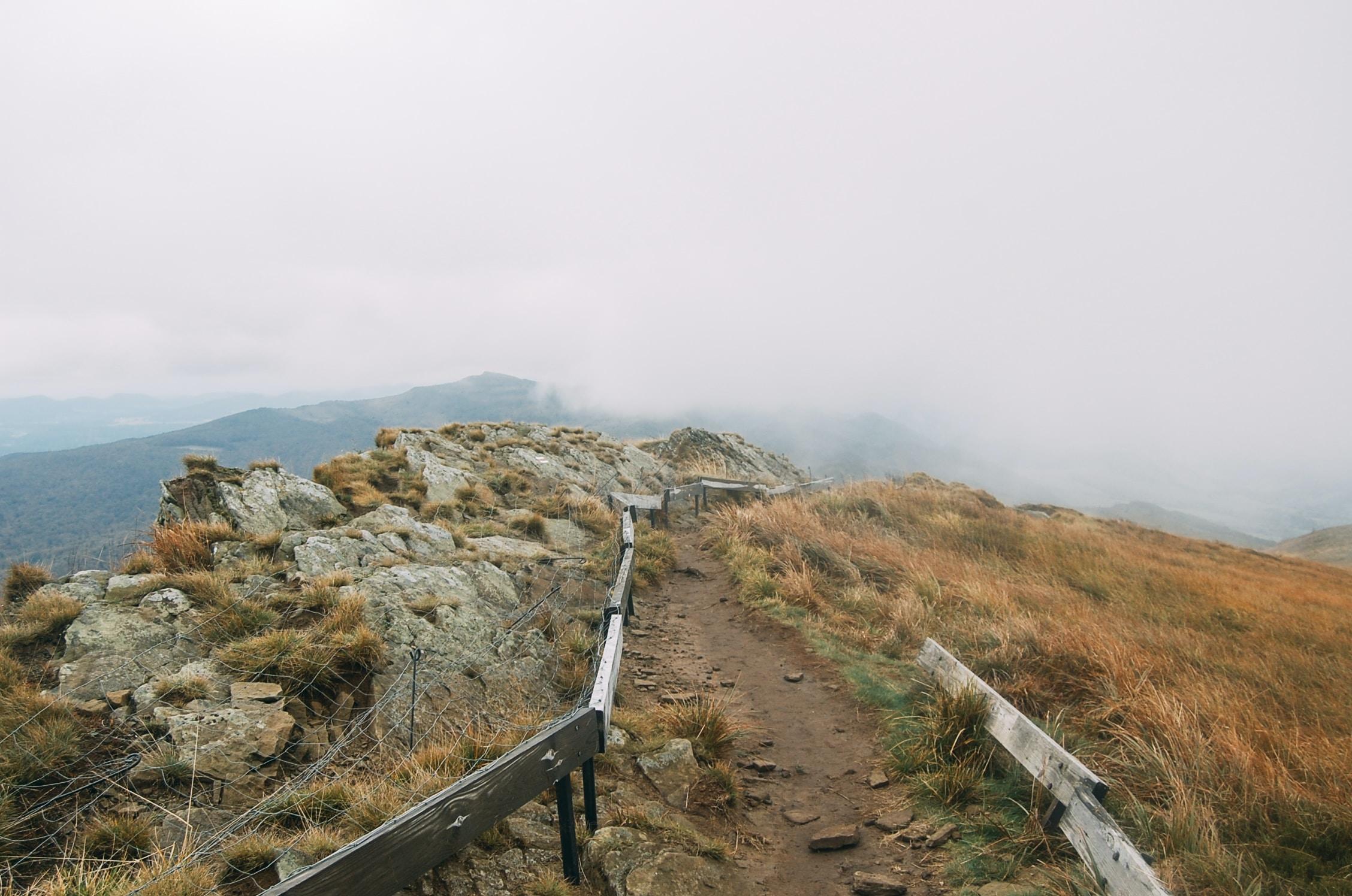 Rugged walking trail through desert mountains