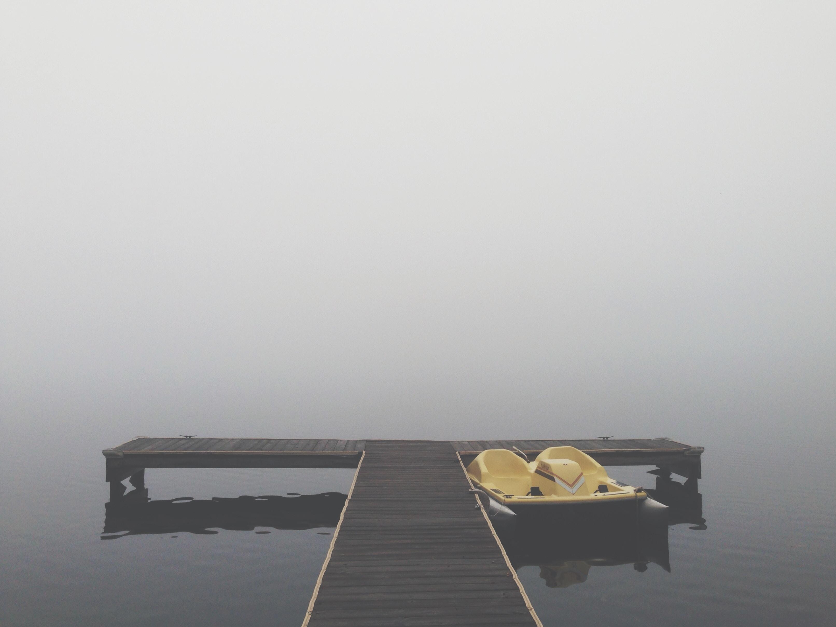 pedal boat beside dock