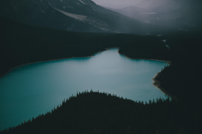 body of water near mountain